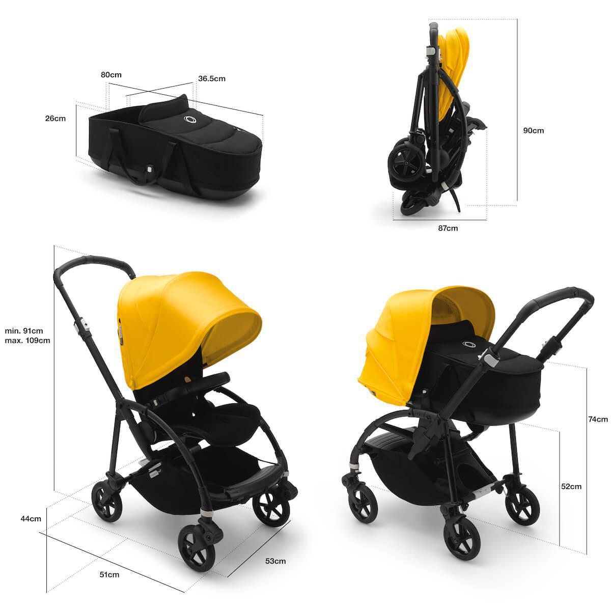 Bugaboo BEE6 carrito completo aluminio-negro-amarillo limón