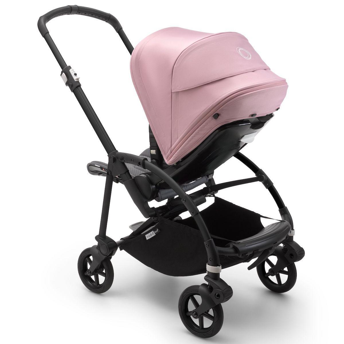Bugaboo BEE6 carrito completo negro-gris melange-rosa pastel