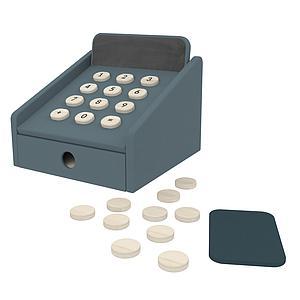 Caja registradora PLAY Flexa dark blue-natural wood