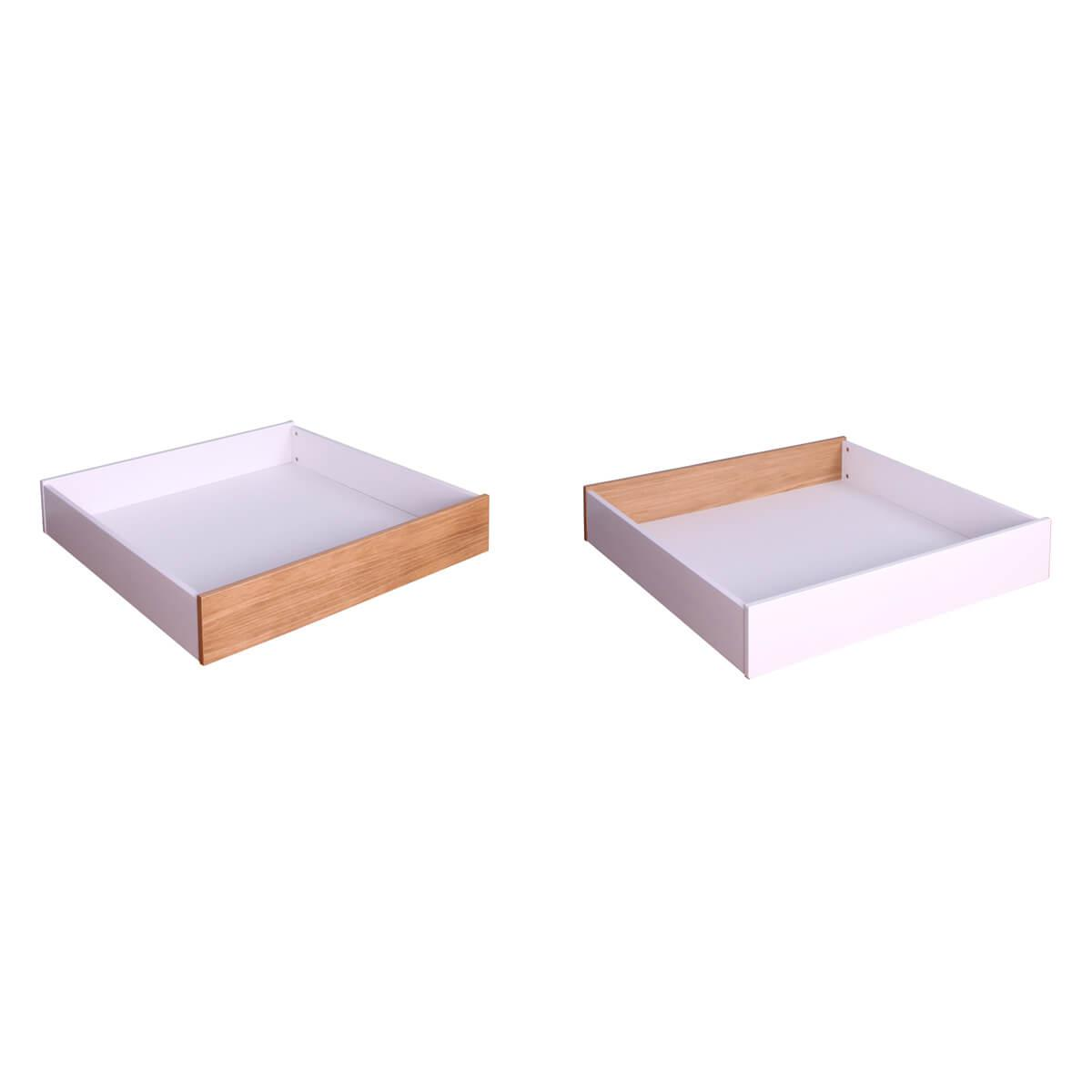 Cajón cama KASVA MDF lacado blanco-multiplex chapa roble
