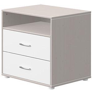 Cajonera 2 cajones-1 estante CLASSIC Flexa grey washed-blanco