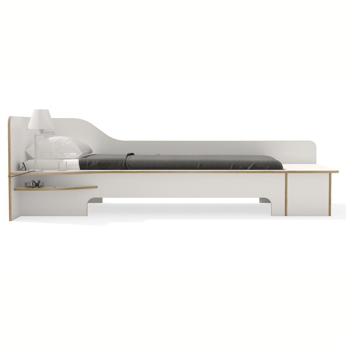 Cama 90x200cm versión izquierda-cajón PLANE Mueller blanco