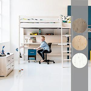 Cama alta 140x190 CLASSIC Flexa escalera recta blanco cal