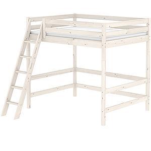 Cama alta 140x200 CLASSIC Flexa escalera inclinada blanco cal