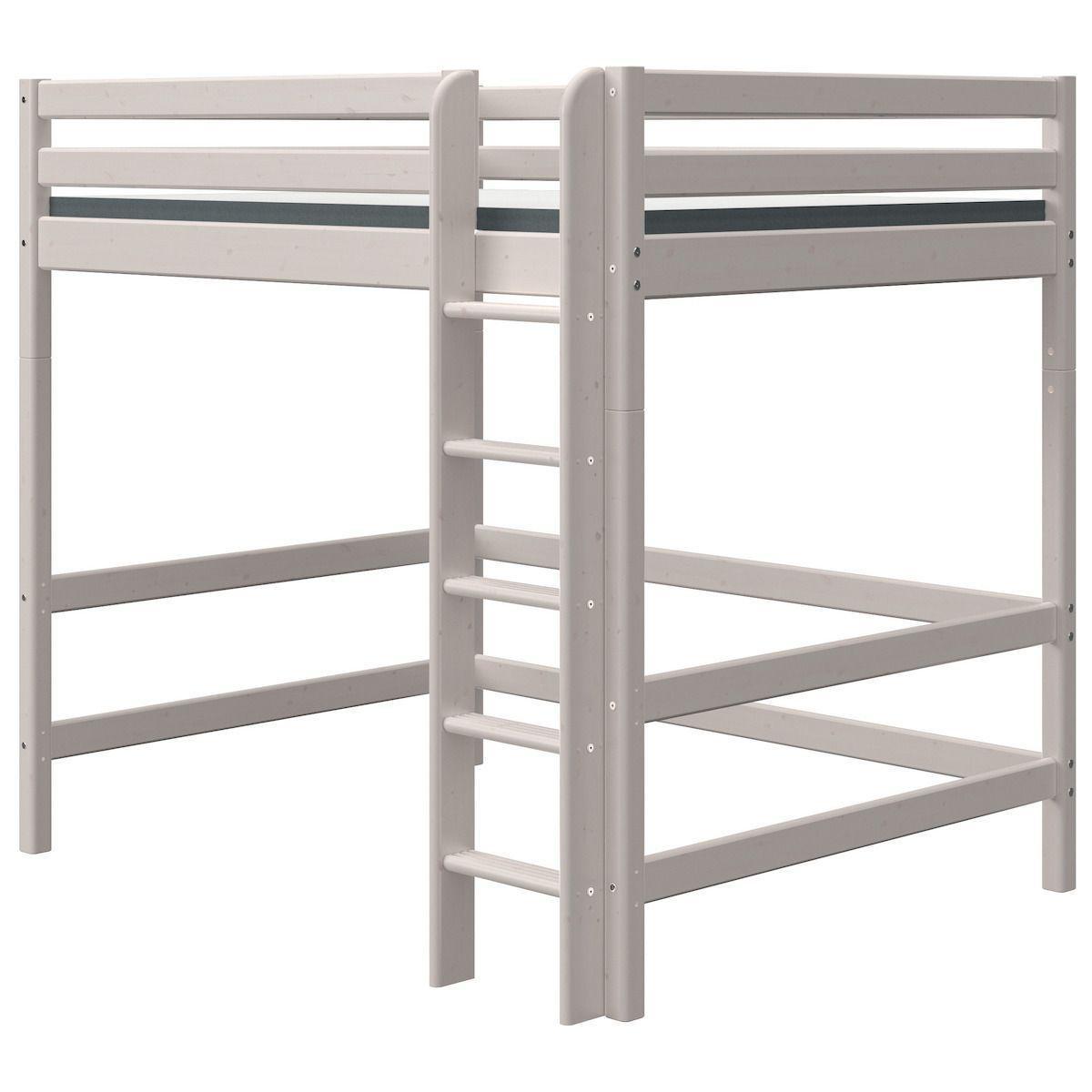 Cama alta 140x200cm escalera recta CLASSIC Flexa grey washed