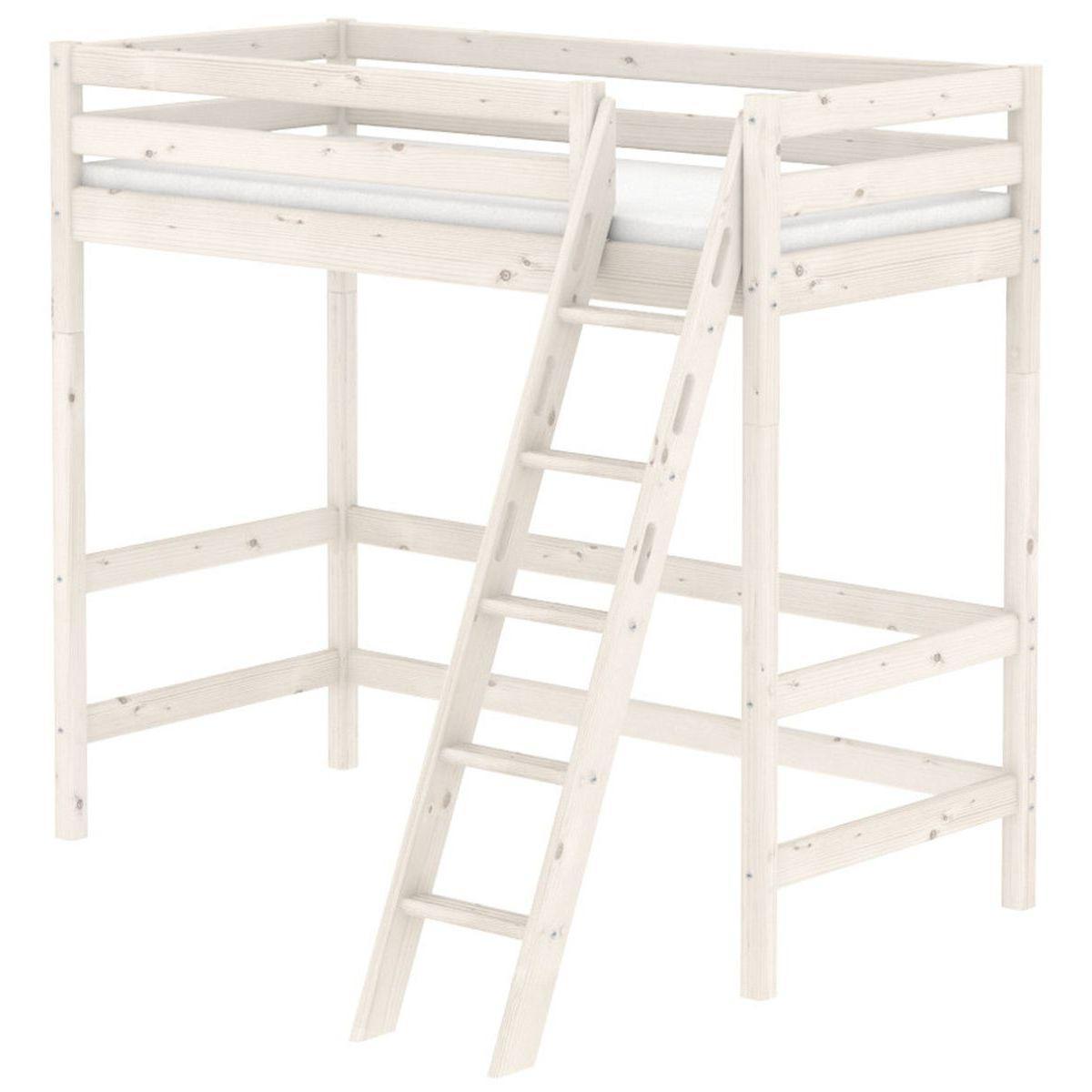 Cama alta 90x190 CLASSIC Flexa escalera inclinada blanco cal
