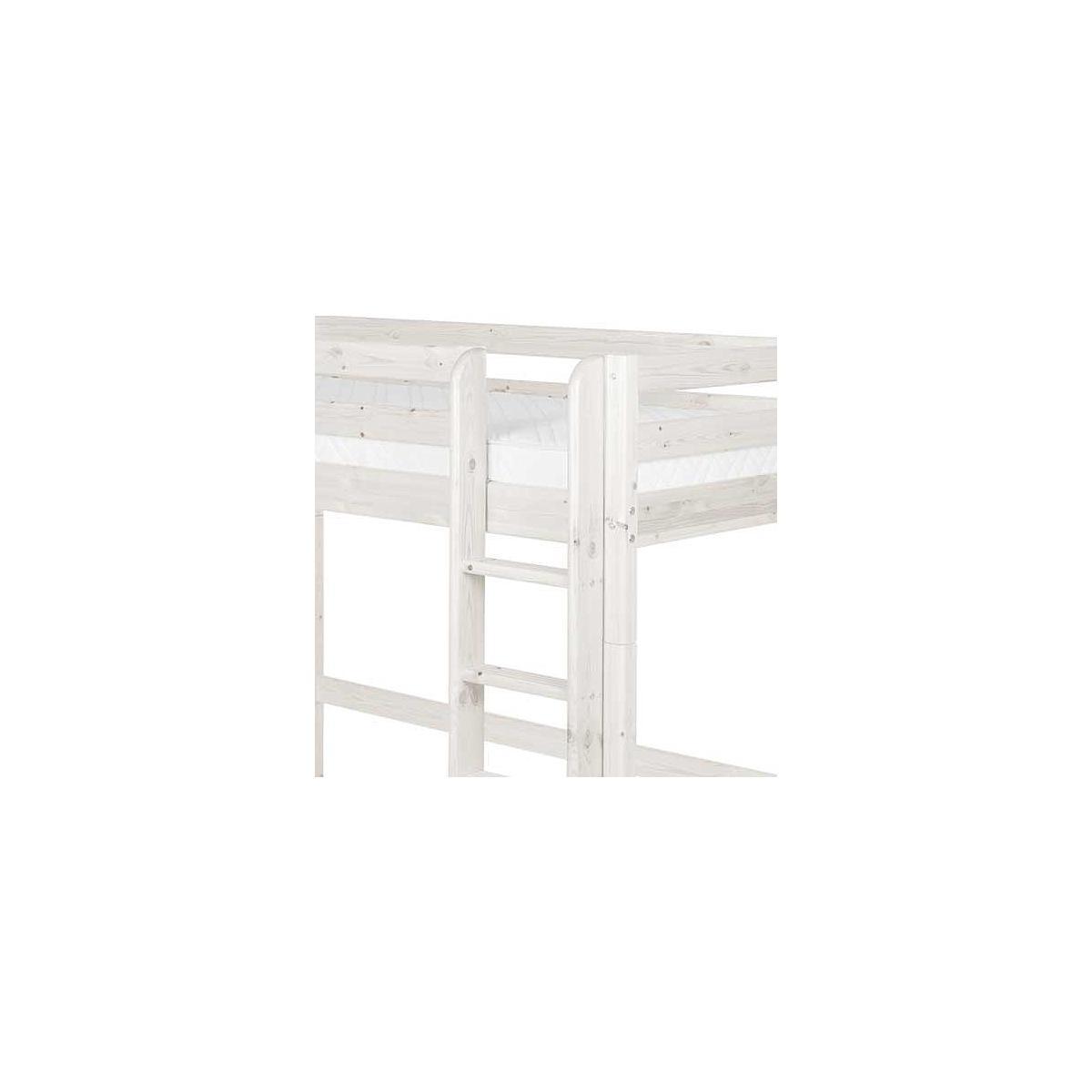 Cama alta 90x190 CLASSIC Flexa escalera recta blanco cal