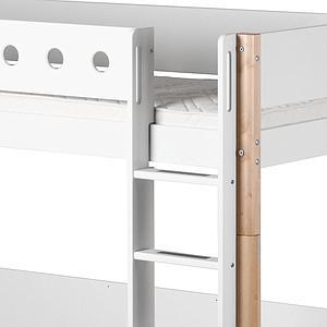 Cama alta 90x190 WHITE Flexa escalera recta barrera blanca patas abedul
