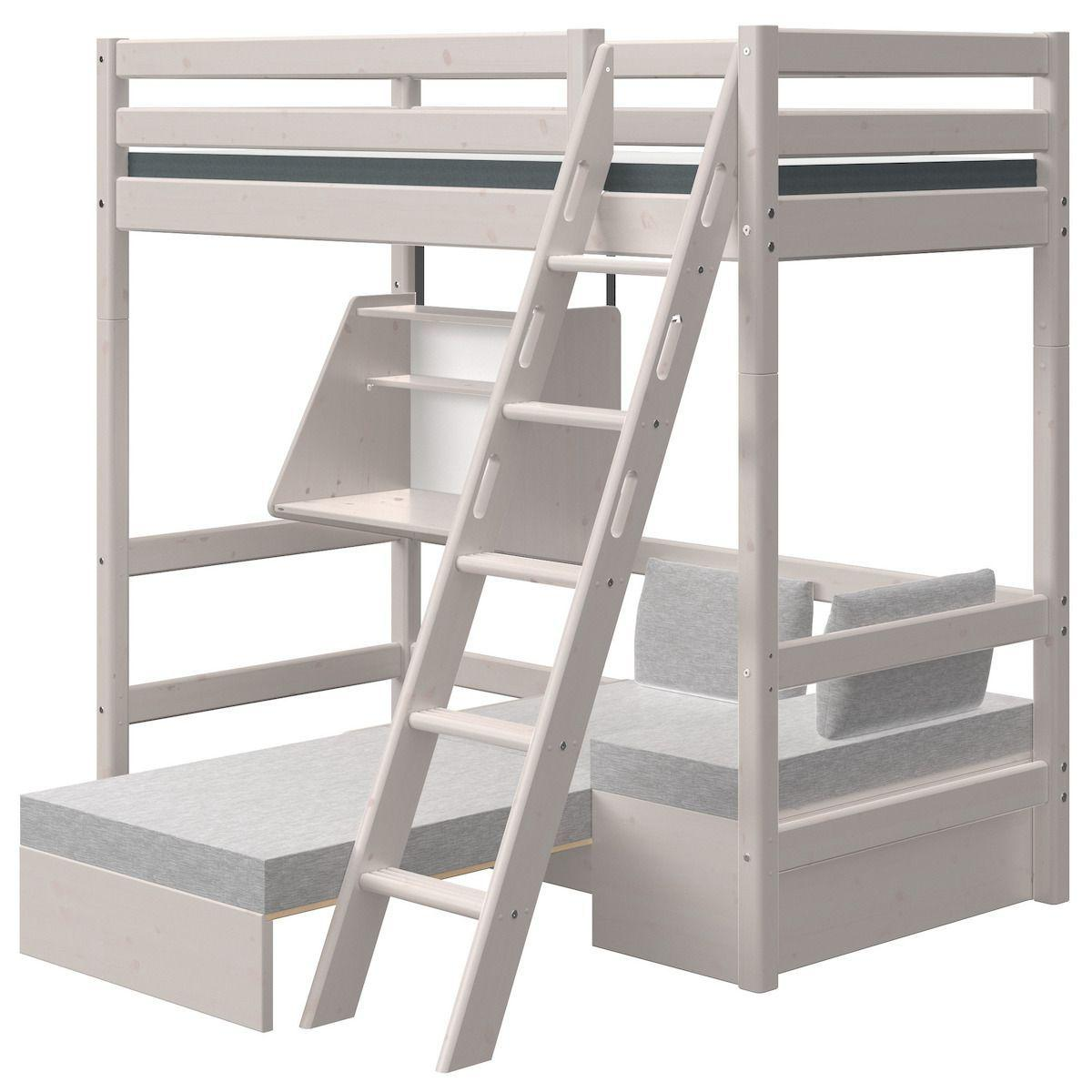 Cama alta 90x190cm escalera inclinada-módulo casa-escritorio clic CLASSIC Flexa grey washed