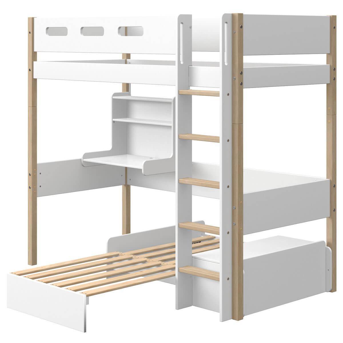 Cama alta 90x190cm módulo casa-escritorio clic NOR Flexa roble-blanco
