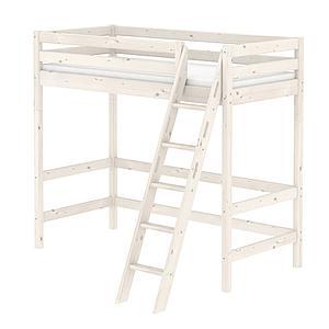 Cama alta 90x200 CLASSIC Flexa escalera inclinada blanco cal