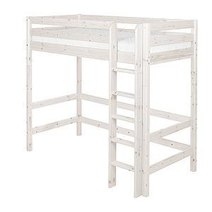 Cama alta 90x200 CLASSIC Flexa escalera recta blanco cal