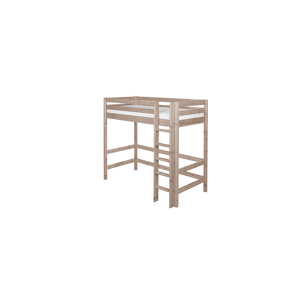 Cama alta 90x200 CLASSIC Flexa escalera recta terra