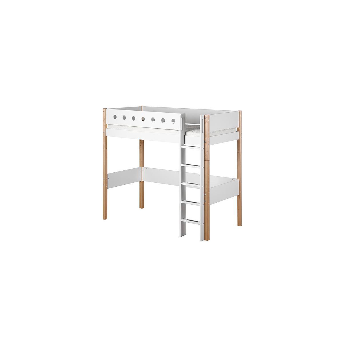 Cama alta 90x200 WHITE Flexa escalera recta barrera blanca patas abedul