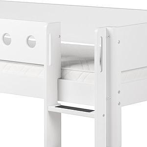 Cama alta 90x200 WHITE Flexa escalera recta barrera y patas blancas