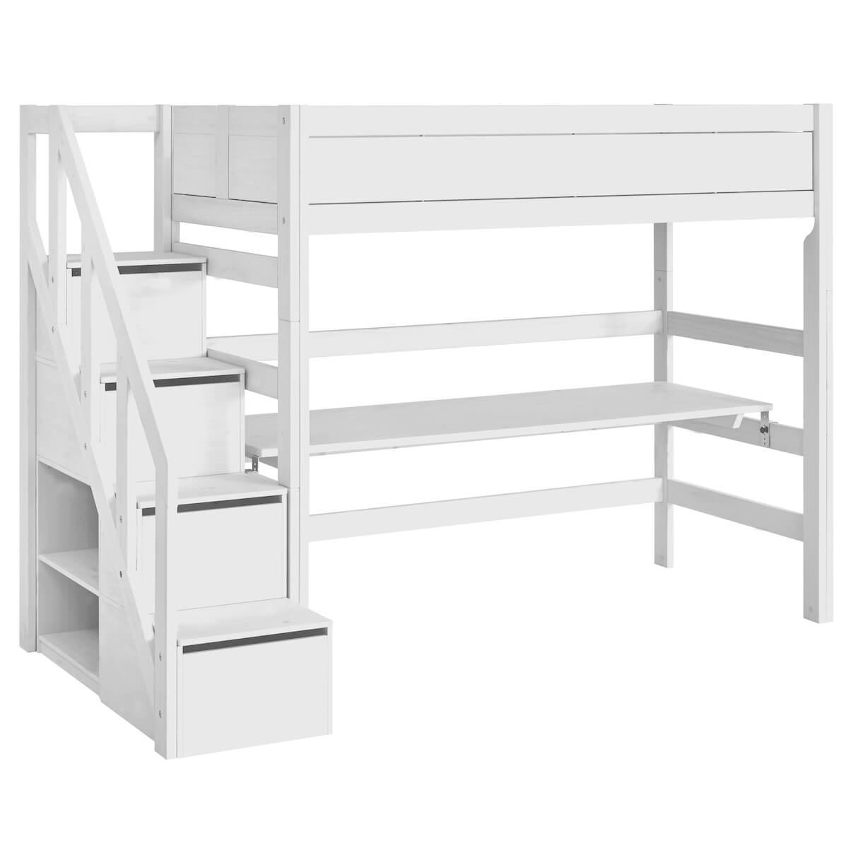 Cama alta 90x200cm escalera cajones Lifetime blanco