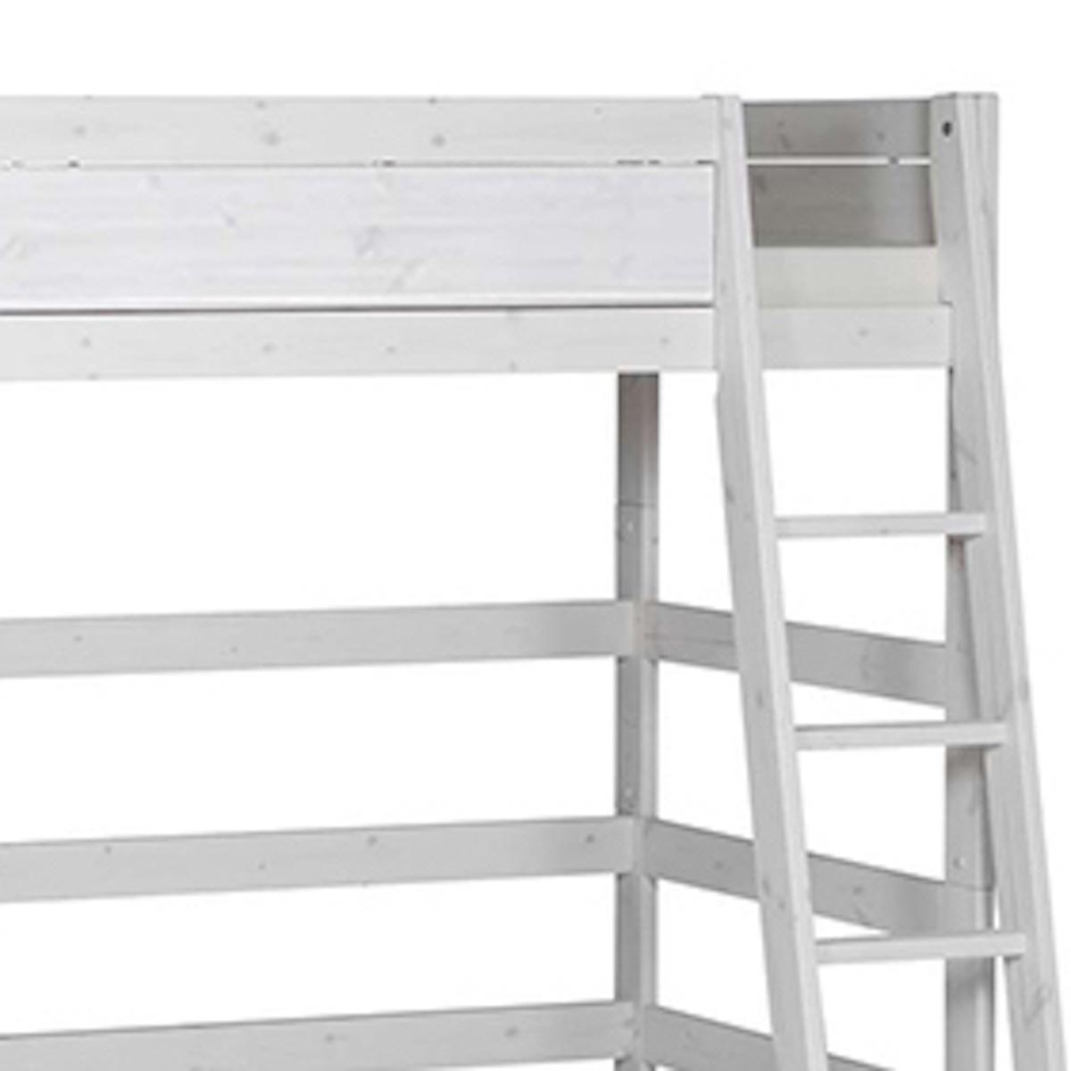 Cama alta 90x200cm escalera inclinada Lifetime blanqueado