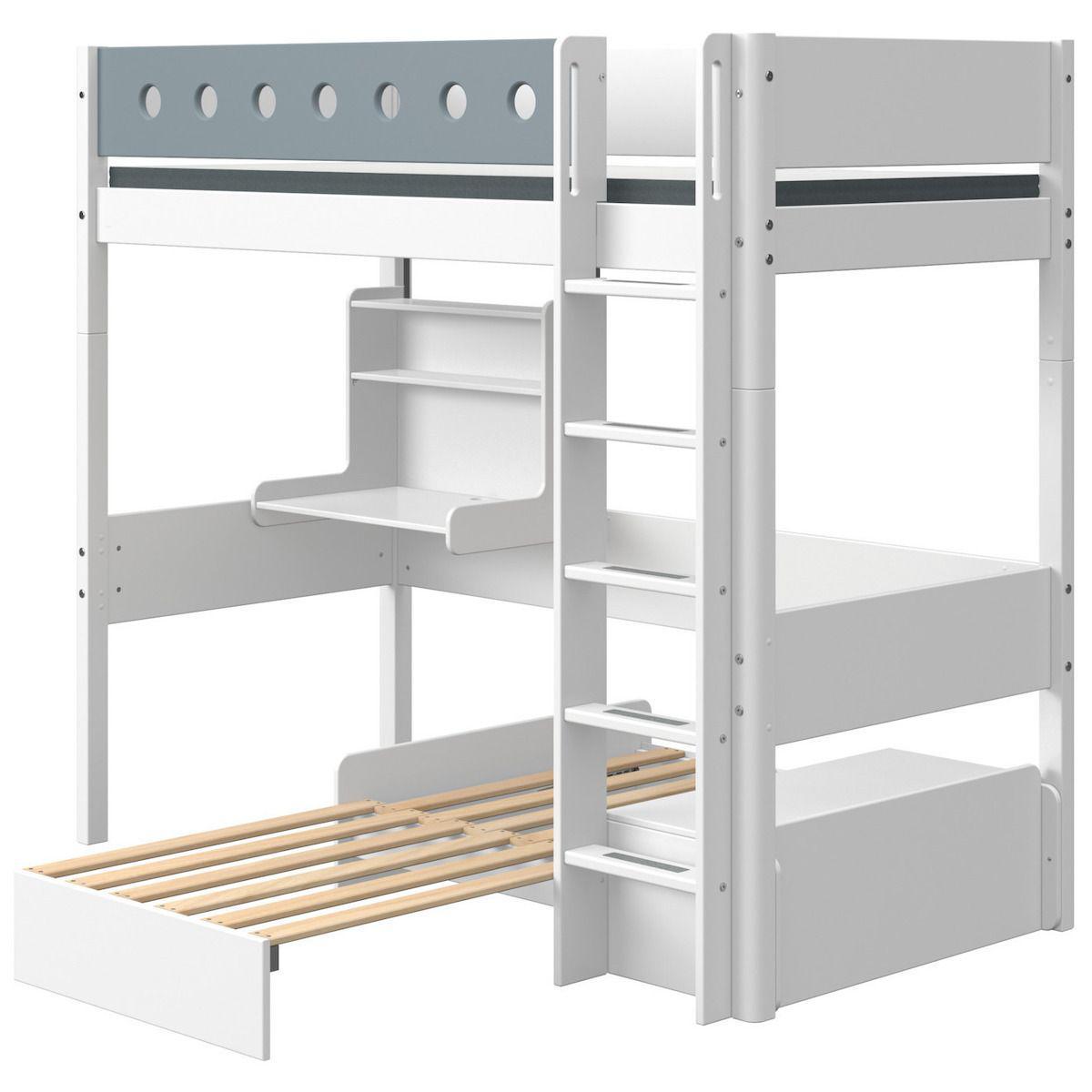 Cama alta 90x200cm escalera recta-módulo casa-escritorio clic WHITE Flexa blanco-azul claro