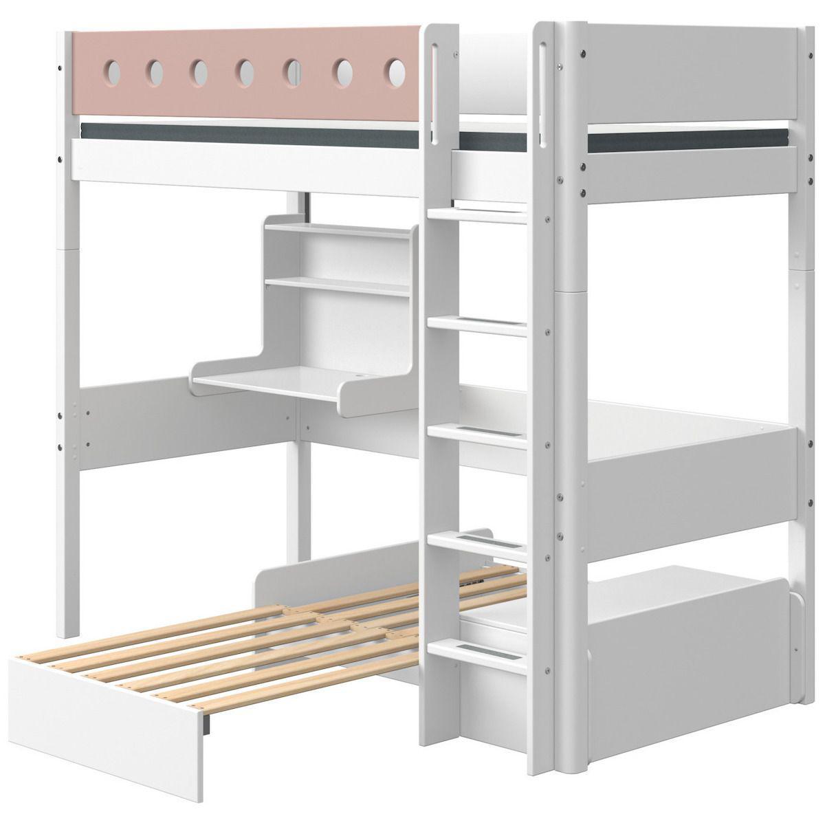 Cama alta 90x200cm escalera recta-módulo casa-escritorio clic WHITE Flexa blanco-rosa claro