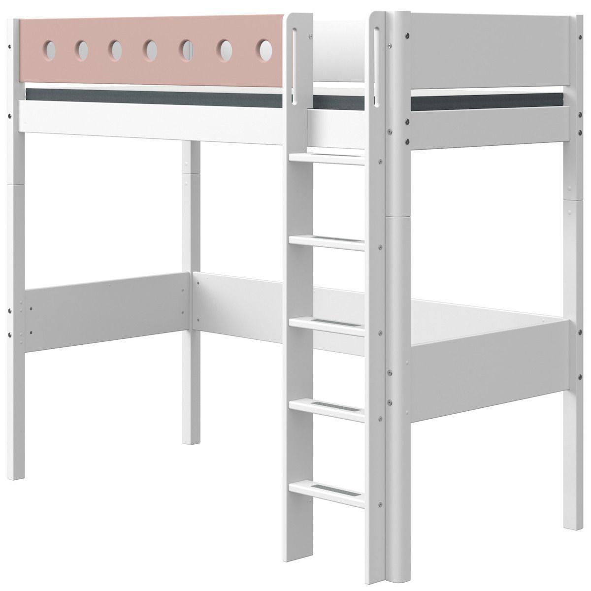 Cama alta 90x200cm escalera recta WHITE Flexa blanco-rosa claro