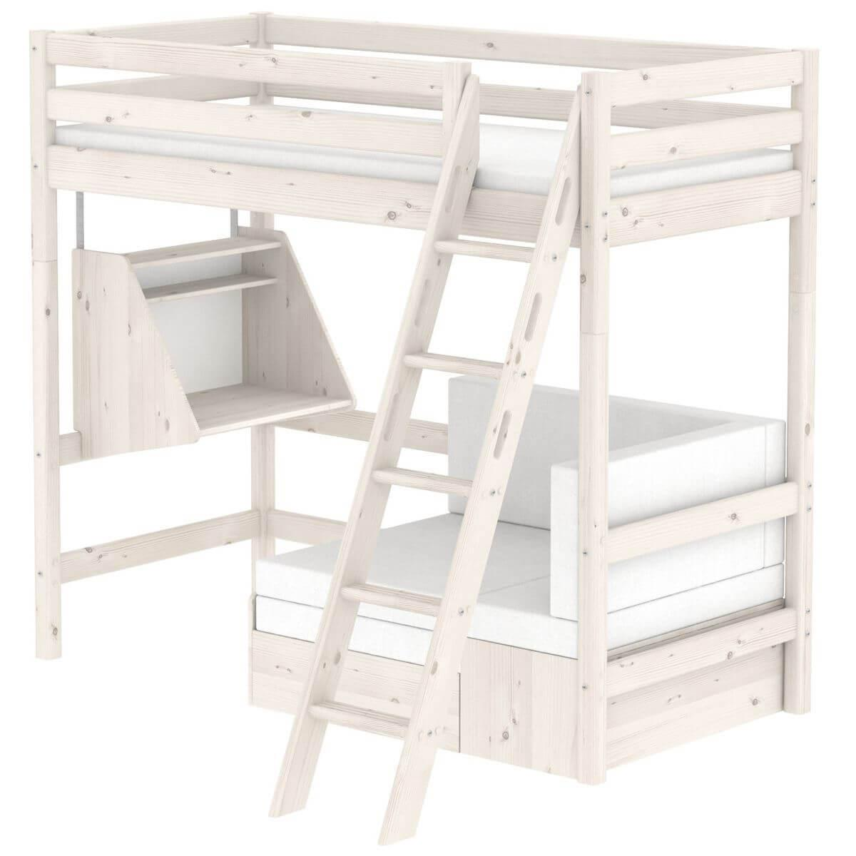 Cama alta Casa 90x190 CLASSIC Flexa escalera inclinada blanco cal