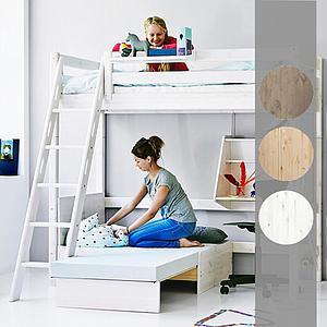Cama alta Casa 90x190 CLASSIC Flexa escalera recta blanco cal
