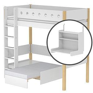 Cama alta Casa 90x190 WHITE Flexa escalera recta barrera blanca patas abedul