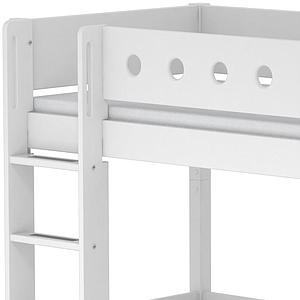 Cama alta Casa 90x190 WHITE Flexa escalera recta barrera y patas blancas