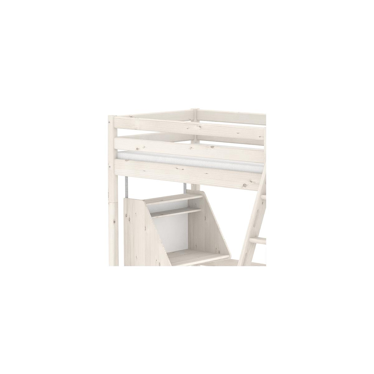 Cama alta Casa 90x200 CLASSIC Flexa escalera inclinada blanco cal