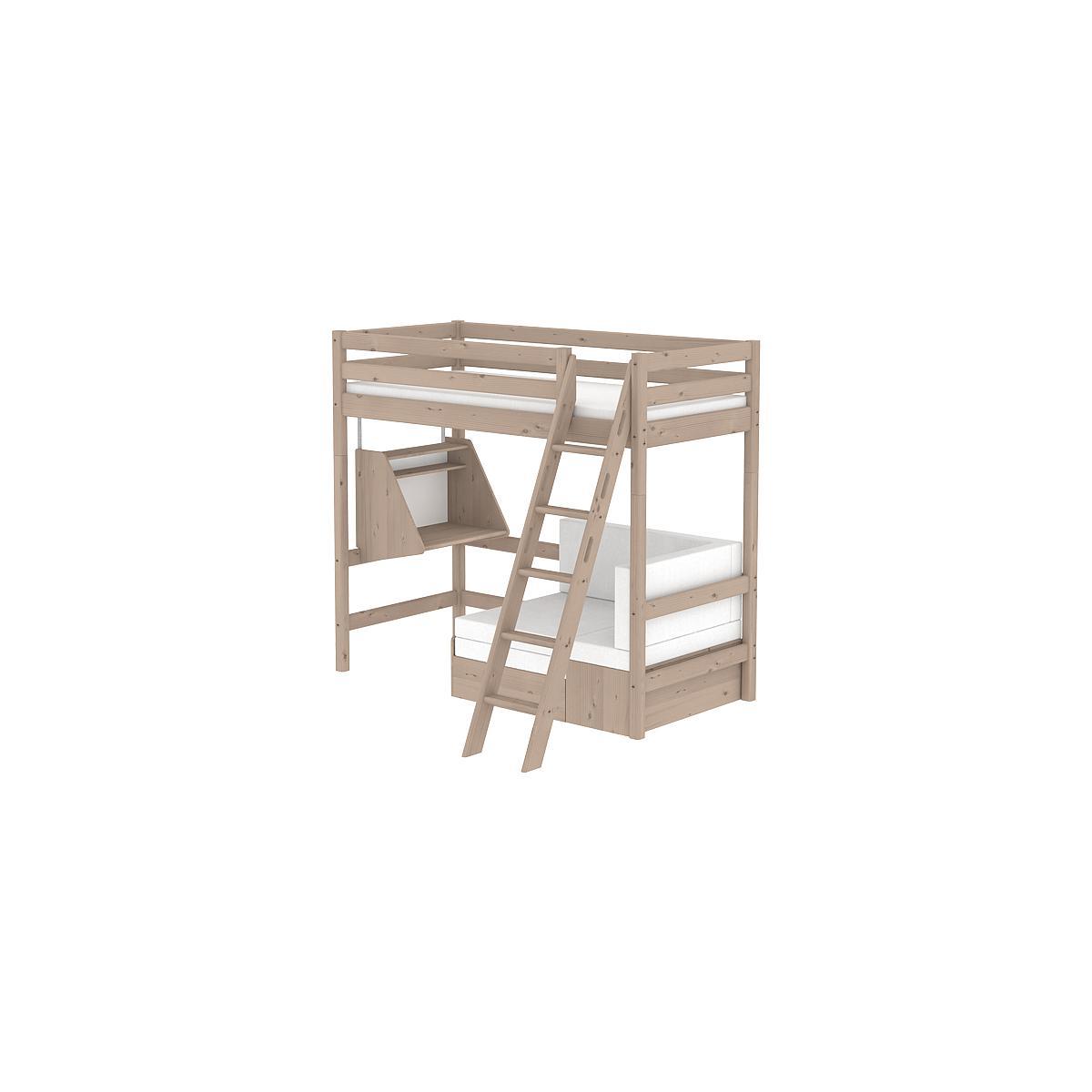 Cama alta Casa 90x200 CLASSIC Flexa escalera inclinada terra