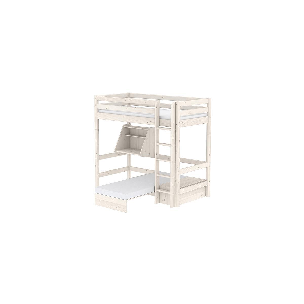 Cama alta Casa 90x200 CLASSIC Flexa escalera recta blanco cal