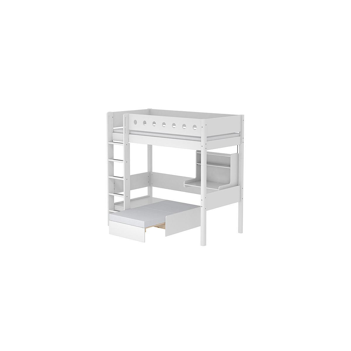 Cama alta Casa 90x200 WHITE Flexa escalera recta barrera y patas blancas