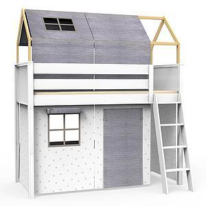 Cama alta-estructura techo KASVA con textiles Bobble gris
