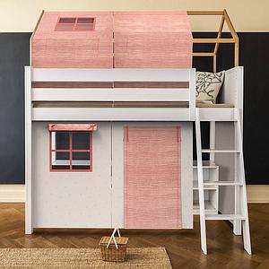 Cama alta-estructura techo KASVA con textiles Bobble rosa