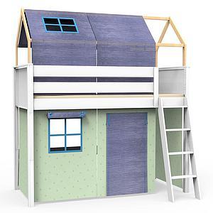 Cama alta-estructura techo KASVA con textiles Bobble verde-azul