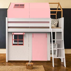 Cama alta-estructura techo KASVA con textiles Viena rosa
