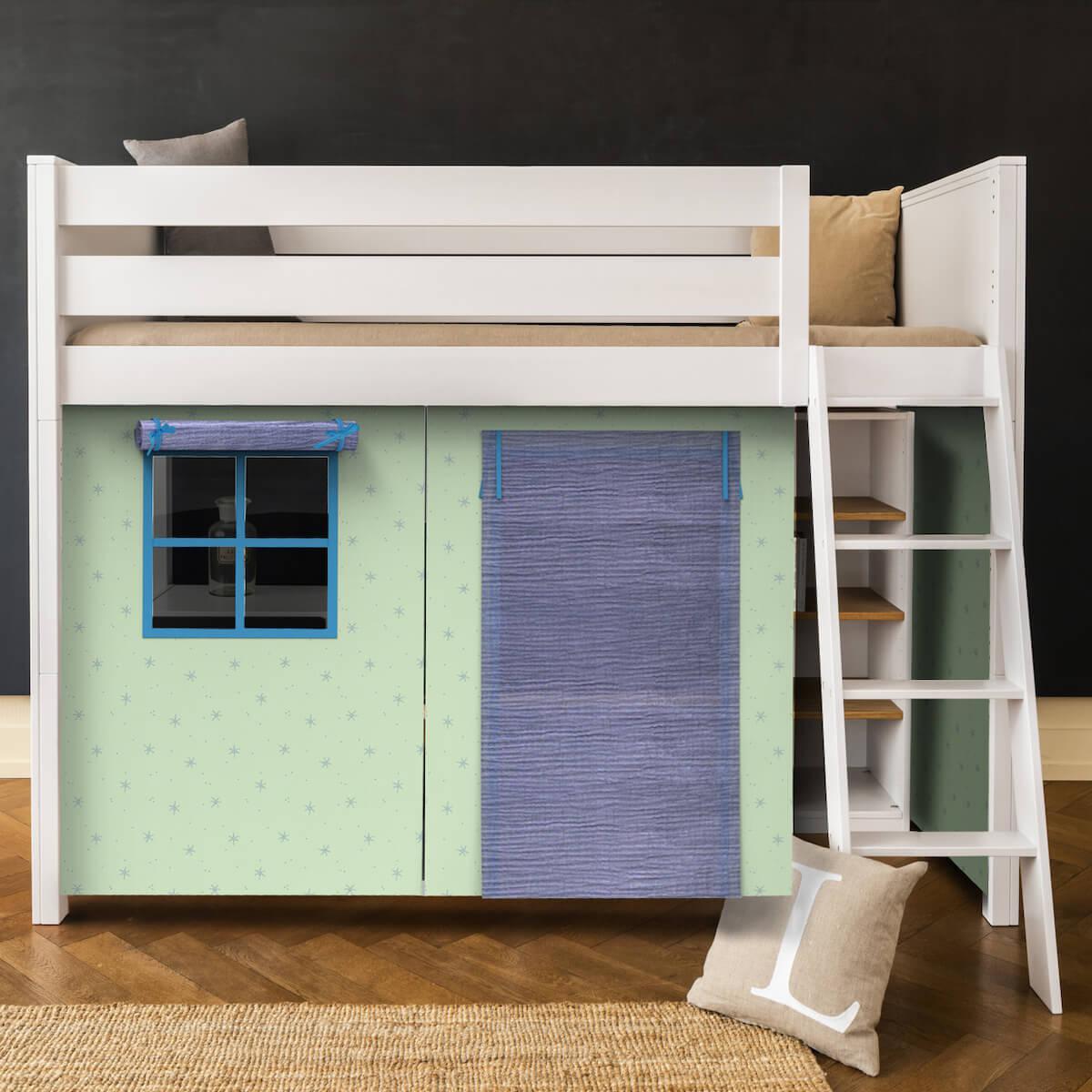 Cama alta KASVA con textiles Bobble verde-azul