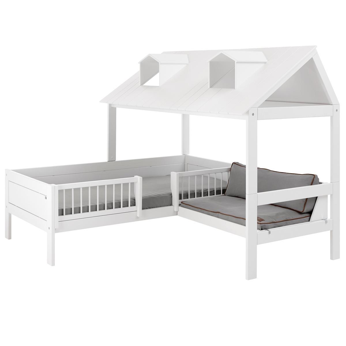 Cama cabaña 90x200cm sofá + somier de luxe BEACH HOUSE Lifetime blanco