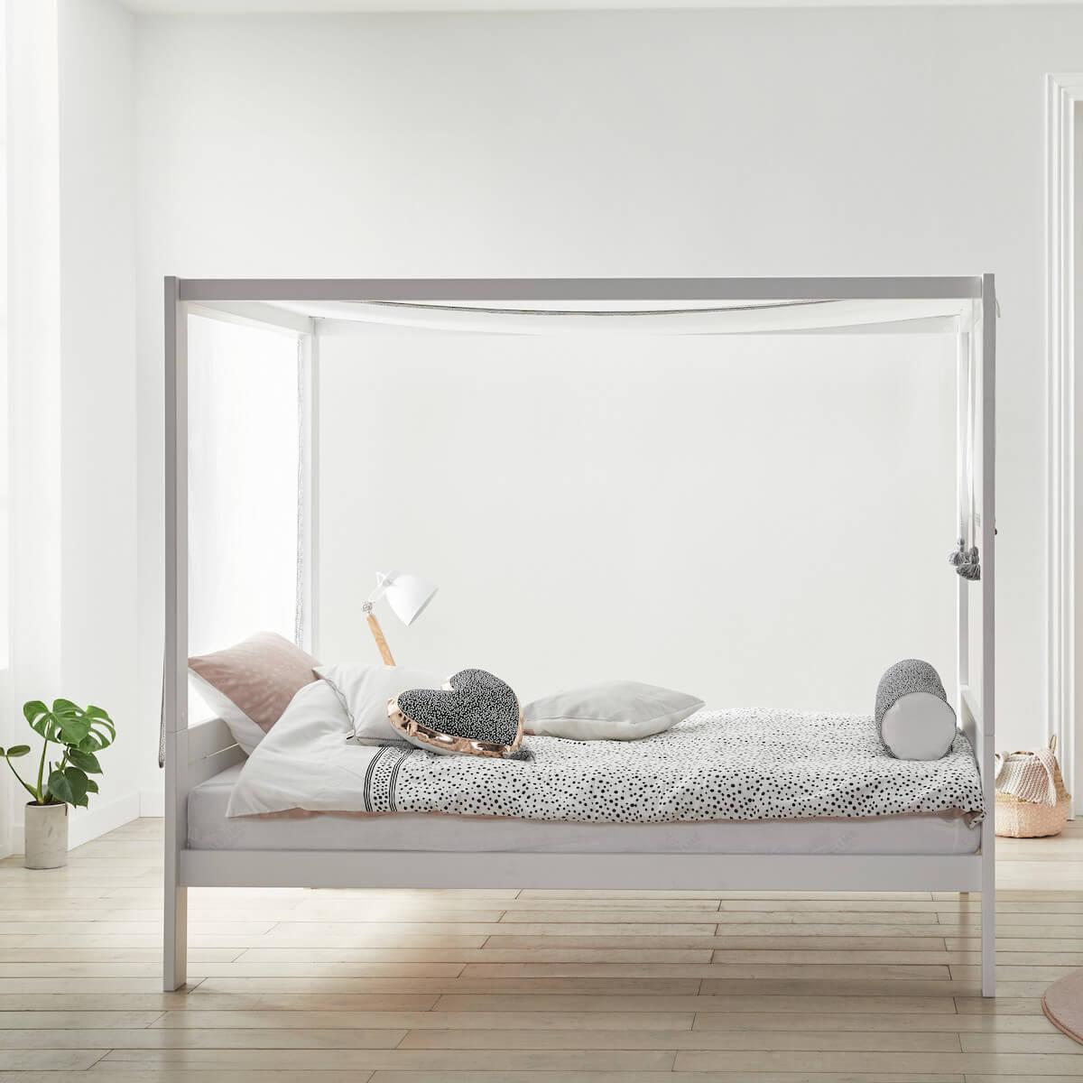 Cama dosel 120x200cm somier DELUXE Lifetime blanco