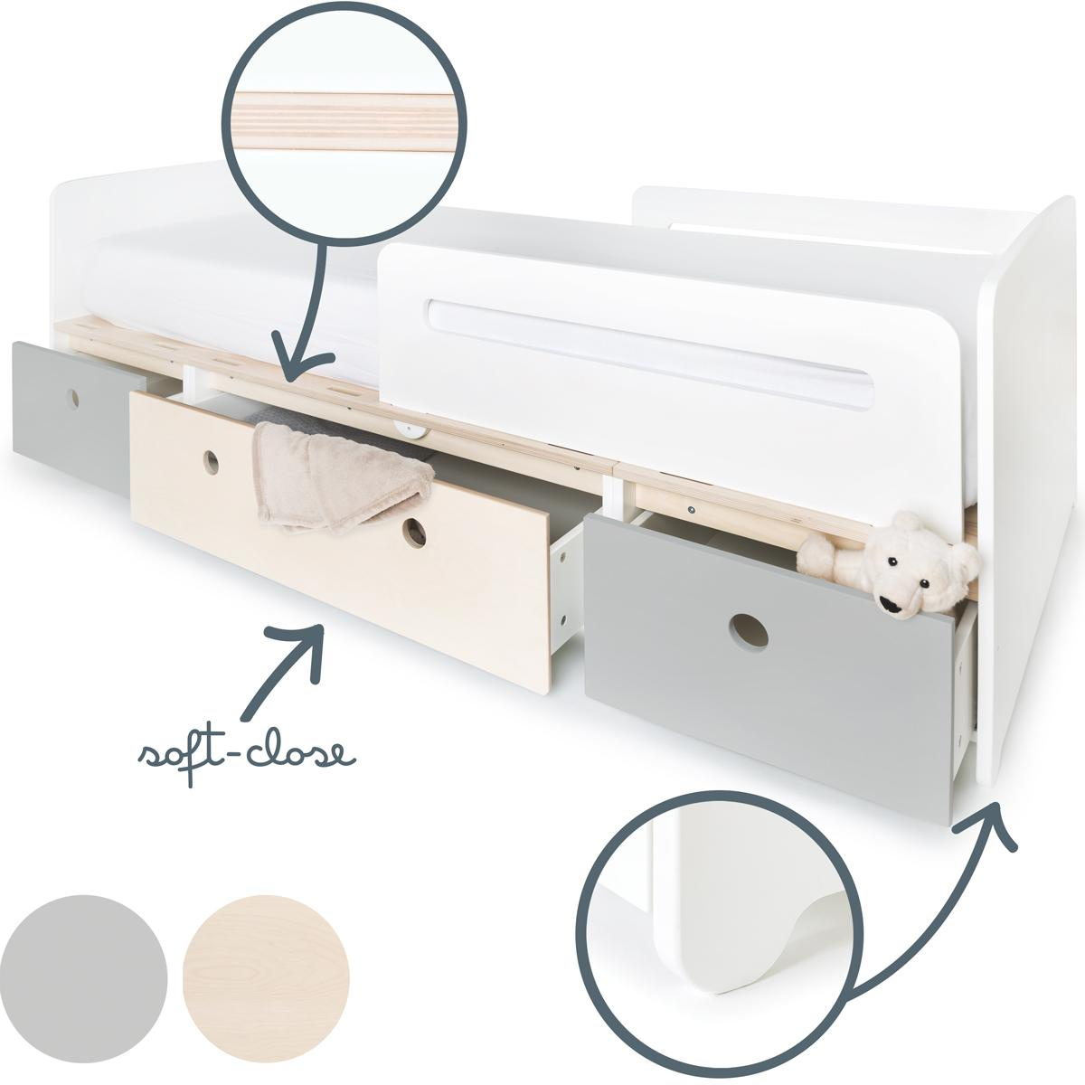 Cama evolutiva 90x200cm COLORFLEX Abitare Kids pearl grey-white wash-pearl grey