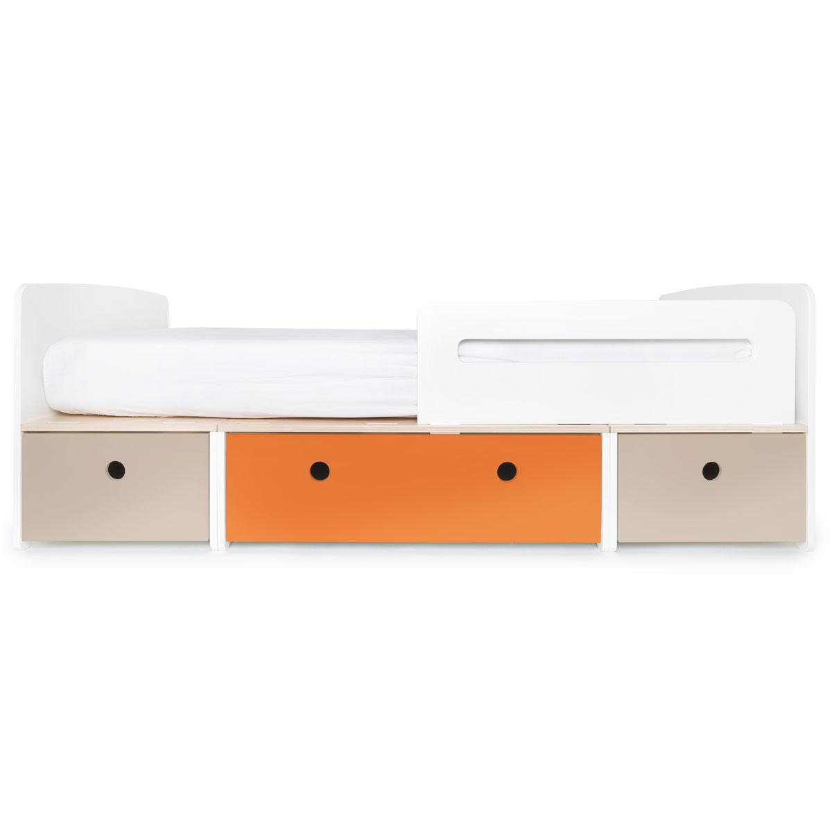 Cama evolutiva 90x200cm COLORFLEX Abitare Kids warm grey-pure orange-warm grey