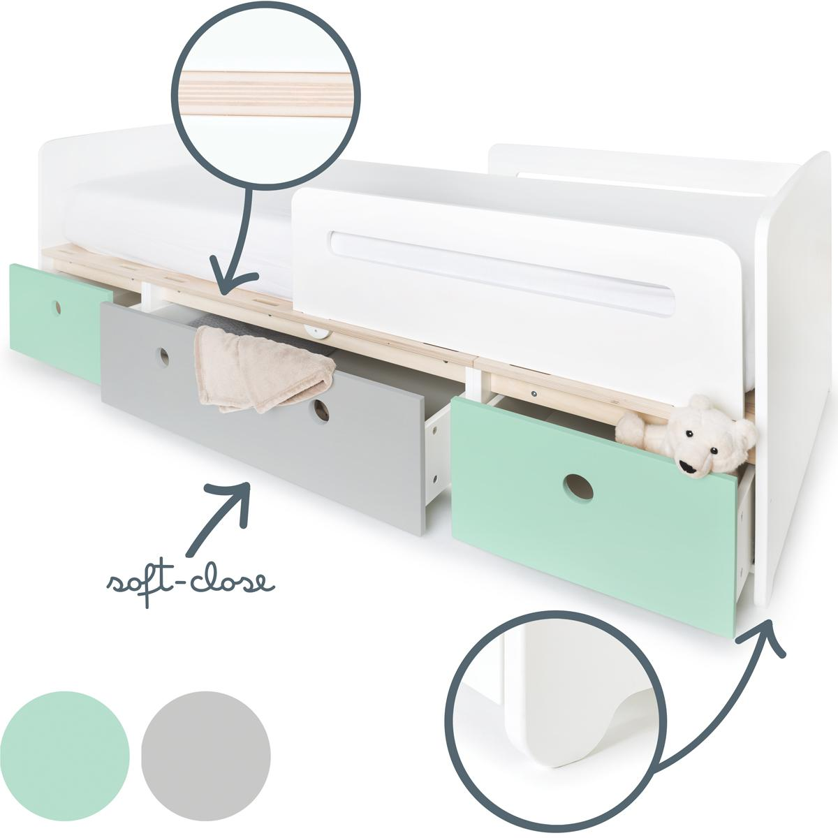 Cama evolutiva 90x200cm COLORFLEX mint-pearl grey-mint