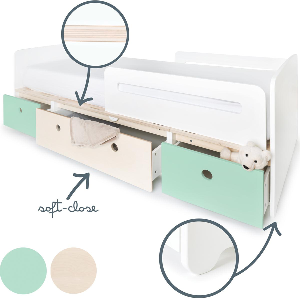 Cama evolutiva 90x200cm COLORFLEX mint-white wash-mint