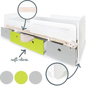 Cama evolutiva 90x200cm COLORFLEX pearl grey-lime-pearl grey