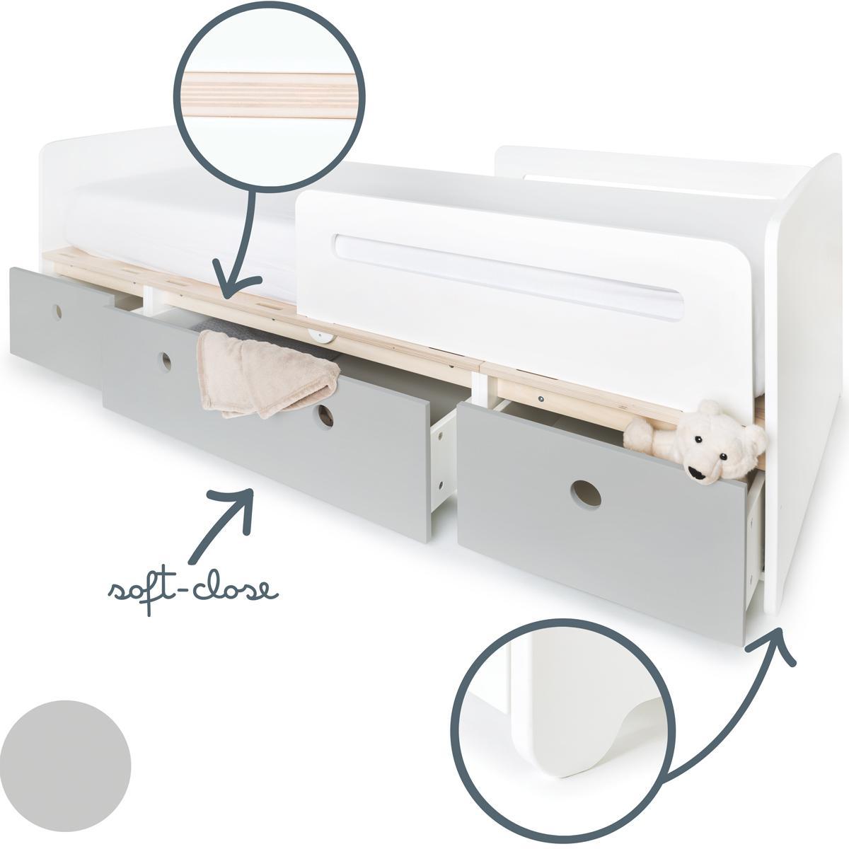 Cama evolutiva 90x200cm COLORFLEX pearl grey