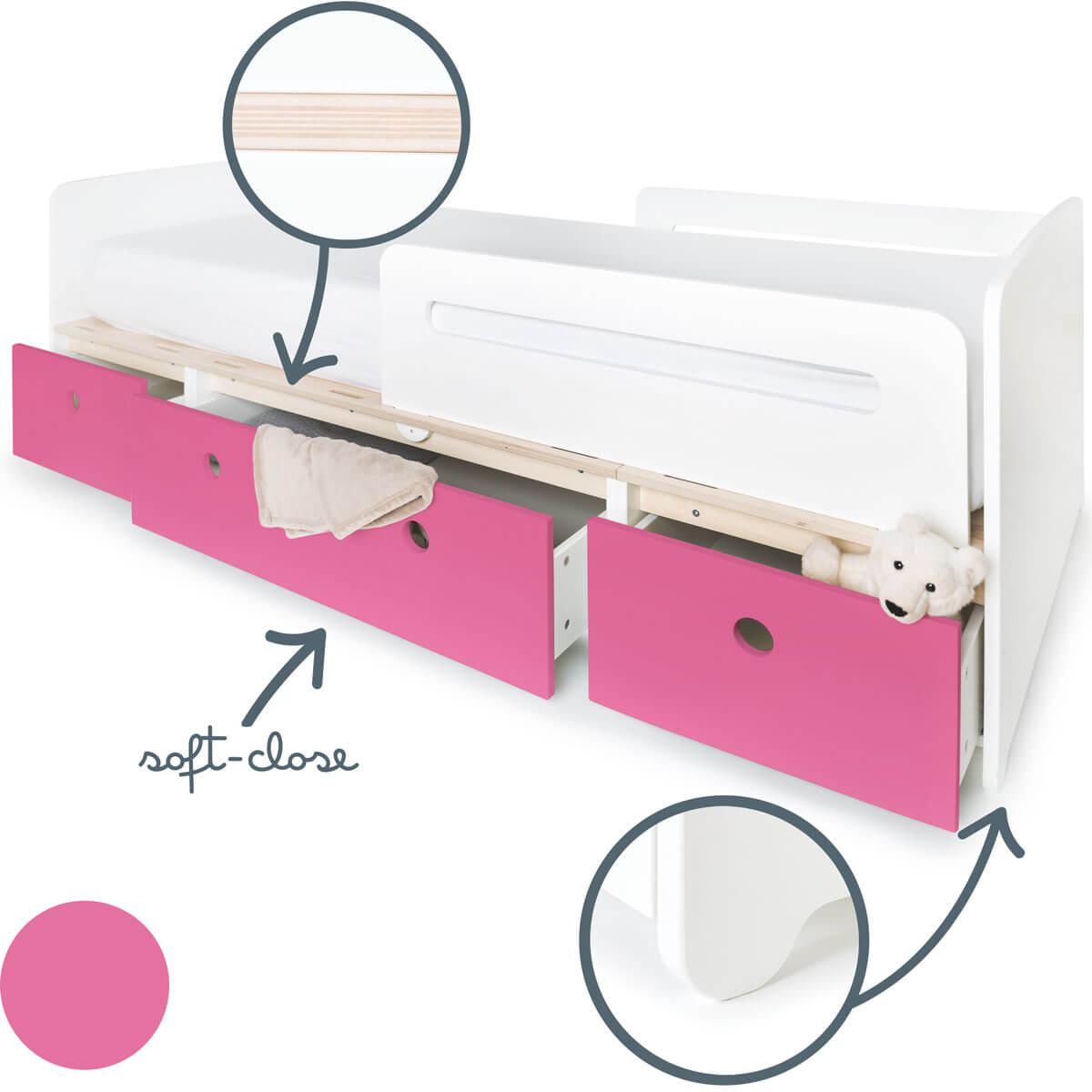 Cama evolutiva 90x200cm COLORFLEX pink