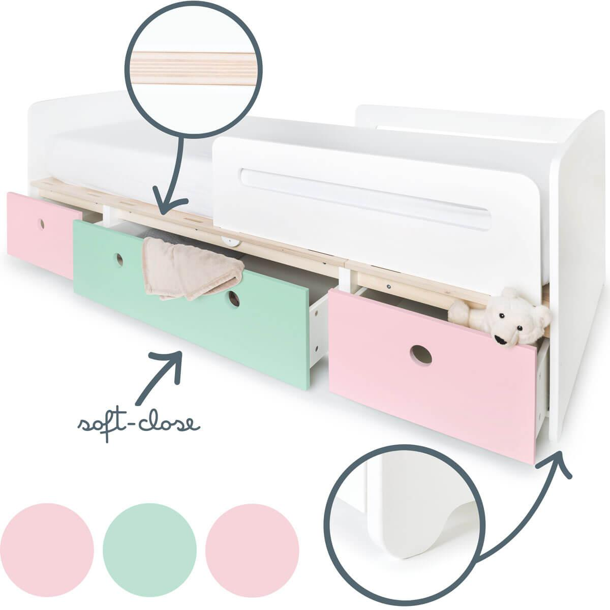 Cama evolutiva 90x200cm COLORFLEX sweet pink-mint-sweet pink