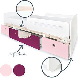 Cama evolutiva 90x200cm COLORFLEX sweet pink-plum-sweet pink