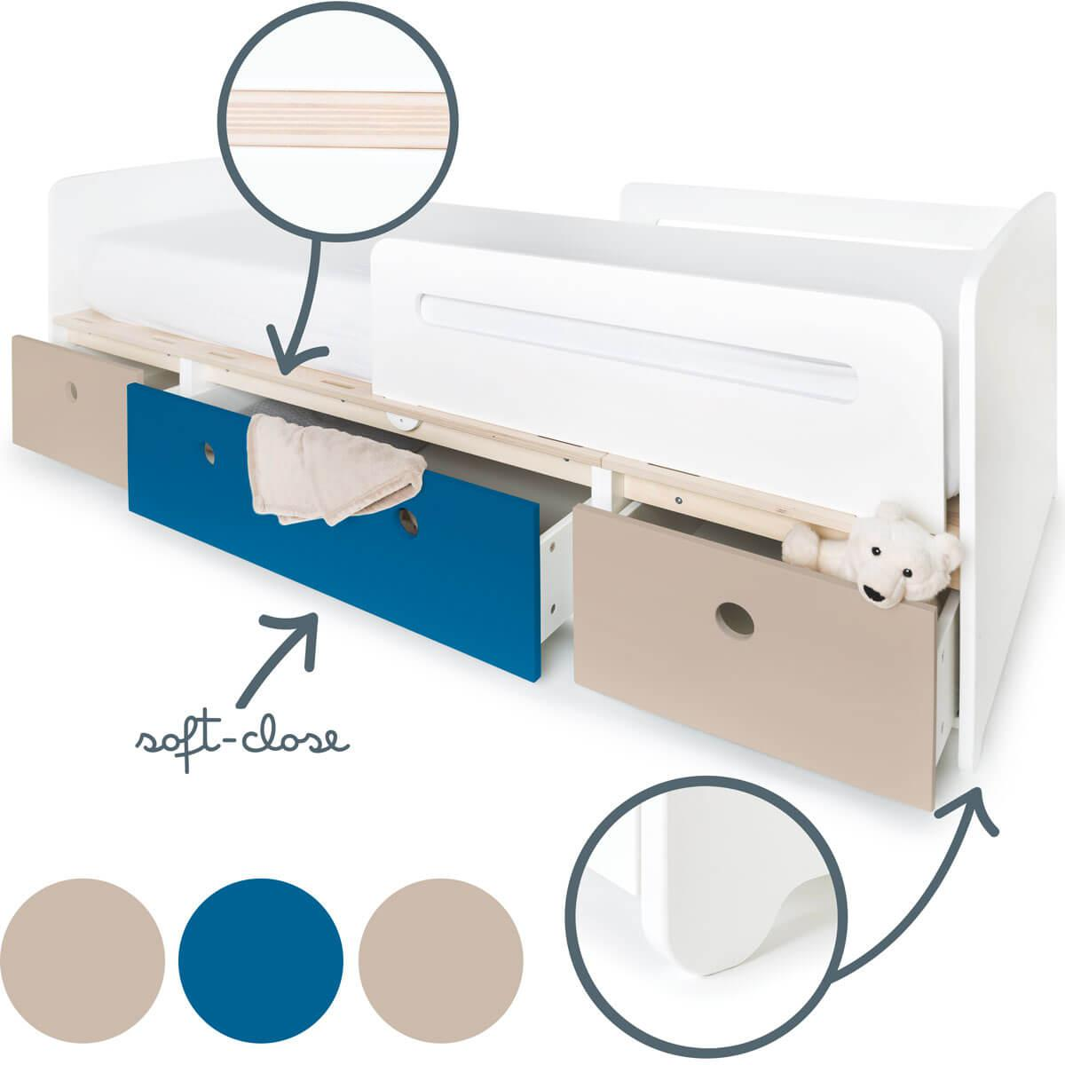 Cama evolutiva 90x200cm COLORFLEX warm grey-deep marine-warm grey