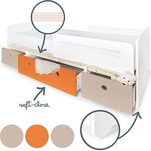 Cama evolutiva 90x200cm COLORFLEX warm grey-pure orange-warm grey